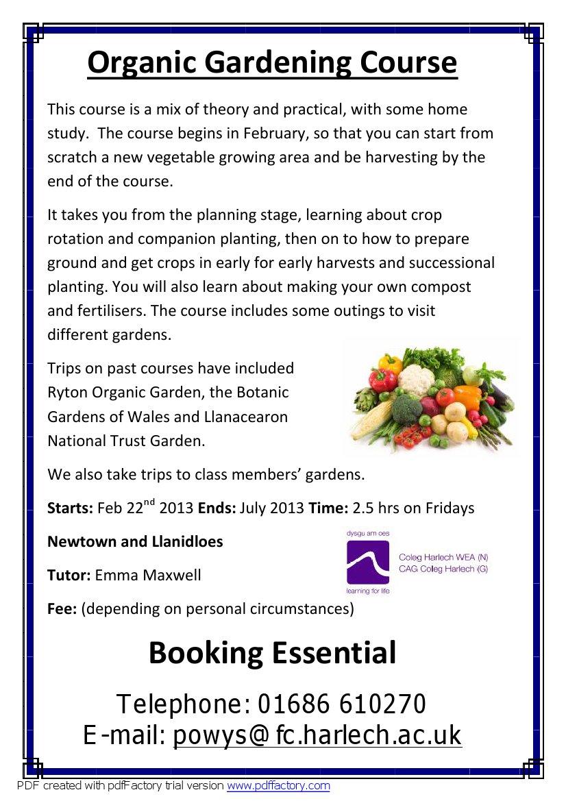 Organic gardening Poster 2013