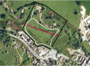 The community land at llanfyllin, kindly donated by Bodfach Trust. black line deonates the boundary, white is footpath.
