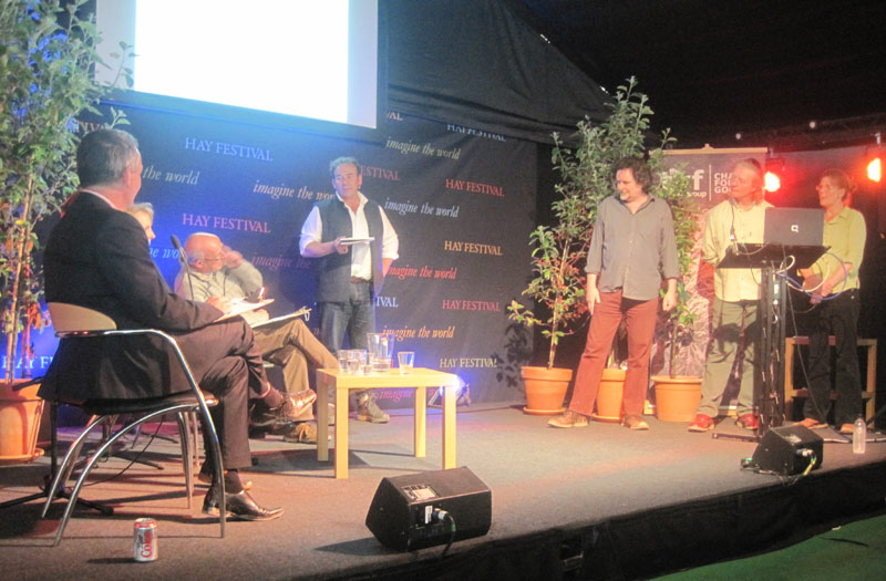 Steve Jones from Cwm Harry/ Cultivate together with colleagues from Garden Planet Biochar at the Hay festival